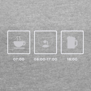 Breakfast, Aquarium, Feierabend - Women's T-shirt with rolled up sleeves