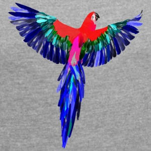 Parrot watercolor - Women's T-shirt with rolled up sleeves