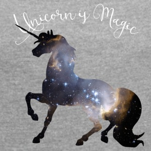 unicorn unicorn universe star magic immortal - Women's T-shirt with rolled up sleeves