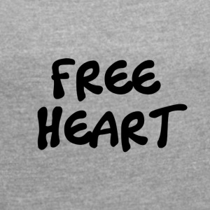 FREE BLACK HEART - Women's T-shirt with rolled up sleeves