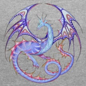 Dragon mandala light blue-lila_26 - Women's T-shirt with rolled up sleeves