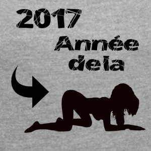2017 years of doggy! - Women's T-shirt with rolled up sleeves