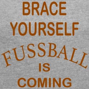 Brace Yourself Football Is Coming - Brown - Women's T-shirt with rolled up sleeves