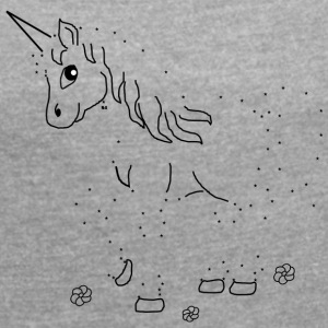Unicorn Paint by Numbers - T-shirt med upprullade ärmar dam