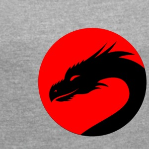 Black Dragon head in a red circle - Women's T-shirt with rolled up sleeves
