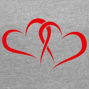 Two Hearts in Red - Women's T-shirt with rolled up sleeves