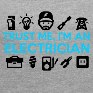 Electrician / Electrician with logos - Women's T-shirt with rolled up sleeves