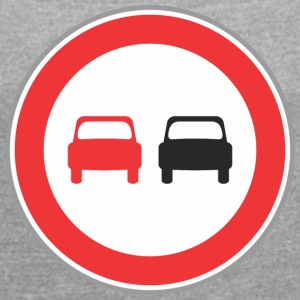 Road sign red and black cars 2 - Women's T-shirt with rolled up sleeves