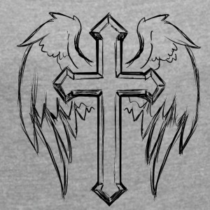 Cross with angel wings - Women's T-shirt with rolled up sleeves