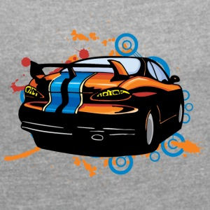 Sport car back - Women's T-shirt with rolled up sleeves