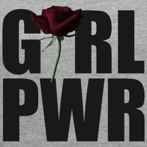 Girl Power black - Frauen T-Shirt mit gerollten Ärmeln