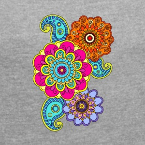 mandala composition - Women's T-shirt with rolled up sleeves