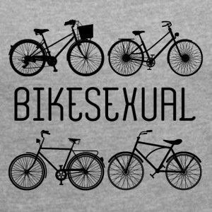 Cykel: Bikesexual - Dame T-shirt med rulleærmer