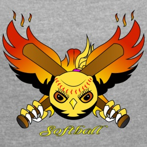 softball_2 - Women's T-shirt with rolled up sleeves