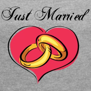 Just married Wedding Rings - T-skjorte med rulleermer for kvinner