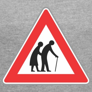 Road sign Old people red - Women's T-shirt with rolled up sleeves