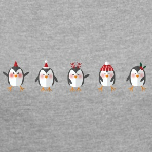 funny penguins - Women's T-shirt with rolled up sleeves