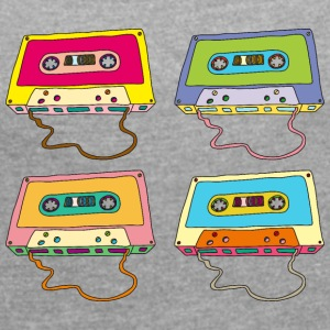 Music cassette compact cassette magnetic tape Retro - Women's T-shirt with rolled up sleeves