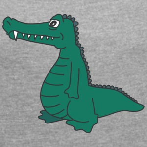Bored crocodile - Women's T-shirt with rolled up sleeves