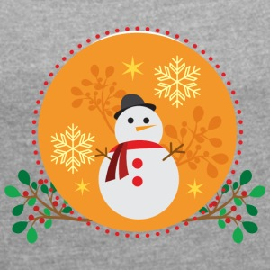 Snowman orange design - Women's T-shirt with rolled up sleeves
