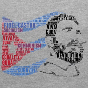 fidel castro flag word cloud - Women's T-shirt with rolled up sleeves