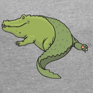 Crocodile shows ass - Women's T-shirt with rolled up sleeves
