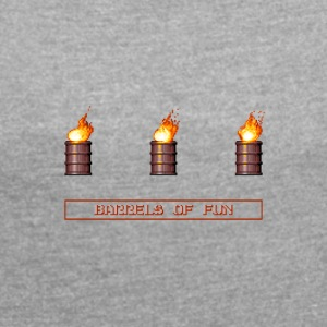 Pixel Flaming Explosive Barrels - Women's T-shirt with rolled up sleeves