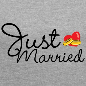 Just Married Rings Hjerte - T-skjorte med rulleermer for kvinner