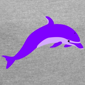 Purple dolphin - Women's T-shirt with rolled up sleeves