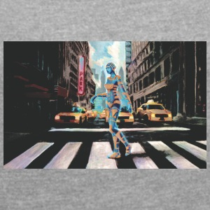 Cyborg in New York - Women's T-shirt with rolled up sleeves