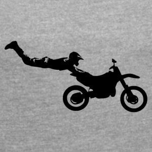 stuntman dirt bike - Women's T-shirt with rolled up sleeves