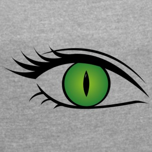 Wild cat eye green - Women's T-shirt with rolled up sleeves