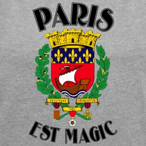 Paris Är Magic Vit - T-shirt med upprullade ärmar dam