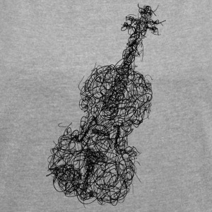 violin scrawl - Women's T-shirt with rolled up sleeves