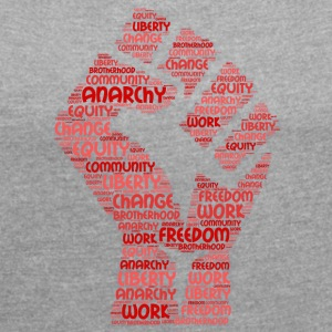 anarchy word cloud - Women's T-shirt with rolled up sleeves