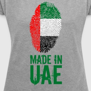 Made In UAE / United Arab Emirates - Frauen T-Shirt mit gerollten Ärmeln