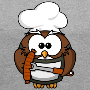 Owl on grill with food comic style - Women's T-shirt with rolled up sleeves