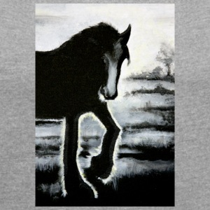 horse Haflinger painting backlit black ra - Women's T-shirt with rolled up sleeves