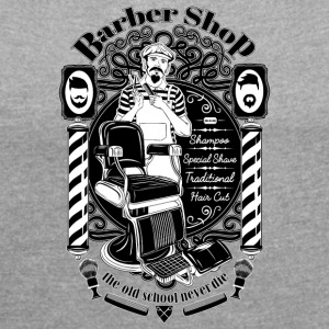 barber_shop - Women's T-shirt with rolled up sleeves