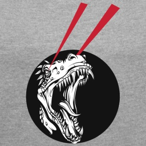 T Rex laser beams - Women's T-shirt with rolled up sleeves