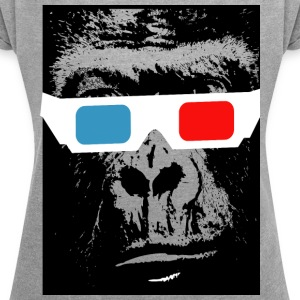 3D chimp - Women's T-shirt with rolled up sleeves