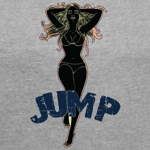 Big tits girl jumping black - Women's T-shirt with rolled up sleeves