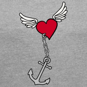 Heart with anchor - Women's T-shirt with rolled up sleeves