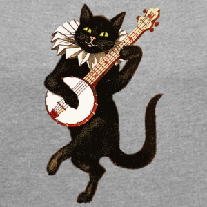 Dancing Cat - Women's T-shirt with rolled up sleeves