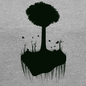 Tree silhouette - Women's T-shirt with rolled up sleeves