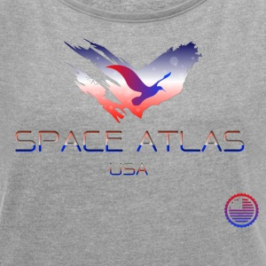 Space Atlas Tee USA - Dame T-shirt med rulleærmer