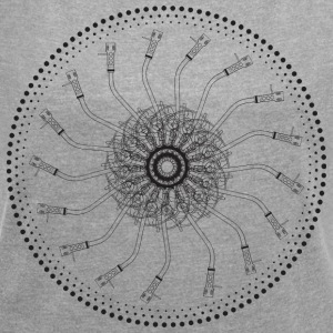 turntable mandala 1200 - Women's T-shirt with rolled up sleeves