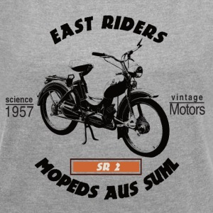 East Riders Mopeds from Suhl - Women's T-shirt with rolled up sleeves