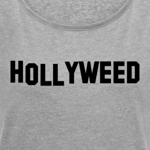 Hollyweed Black - Women's T-shirt with rolled up sleeves