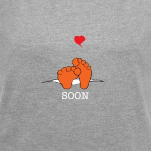 Baby Coming Soon Pregnancy - Women's T-shirt with rolled up sleeves